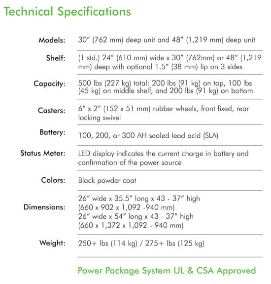 pc series computer cart specifications